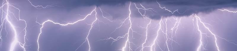 Lightning strikes across horizon