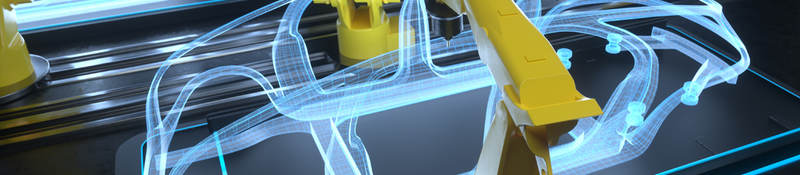 Digital generated image of yellow colored robotic arms working on car production line.