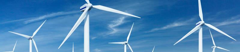 Wind turbines in a wind turbine park on the sea