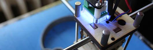 Top-view of 3D printer printhead