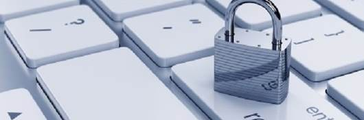 Illustration of chrome padlock on the computer keyboard. to denote security concept