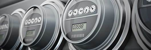 row of gray electric meters