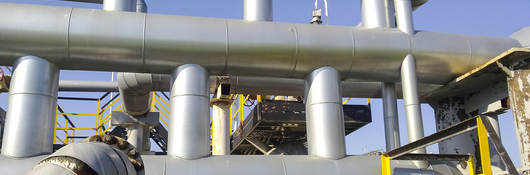 View of large oil pipes