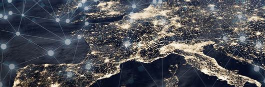 arial view of Europe with lights