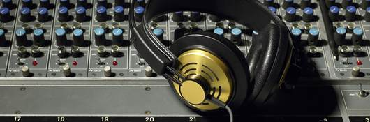 Headphones on an audio control board