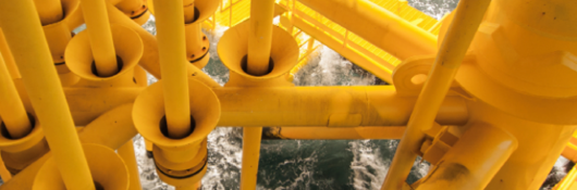 yellow pipes in water