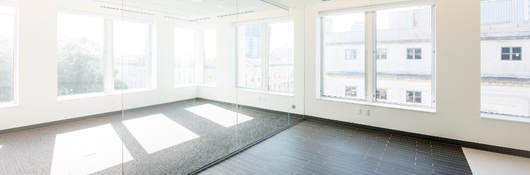 Airy unfurnished office with several kinds of tile flooring