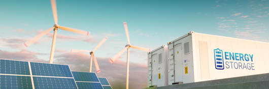 Energy storage system paired with wind and solar generation