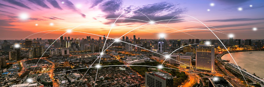 City skyline with illustration of connecting lines