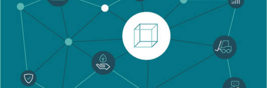 Illustration on teal background of box with icons interconnected with lines