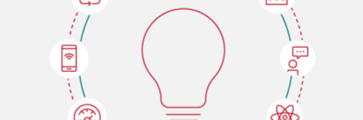 Illustration of lightbulb with 6 icons around it