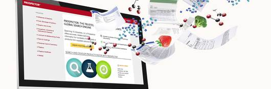 Prospector homepage graphics with molecules, ingredients and datasheets flying out.