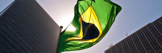 Brazilian flag in the sun
