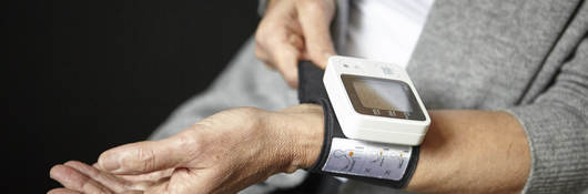 Wrist with blood pressure device