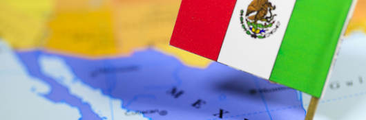 Zoomed in map view of Mexico with the Mexican flag