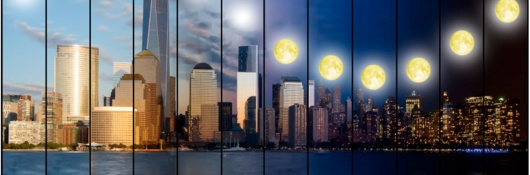 Sun and moon over NYC skyline