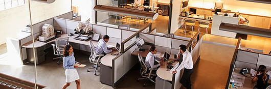 Photo of an office with cubicles and employees