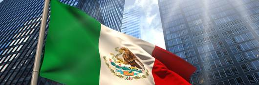 Mexico Flag with sky scrapers in background
