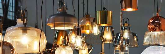 Variety of lamps hanging from ceiling