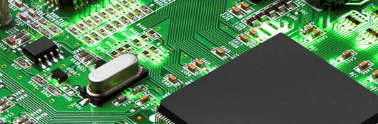 Electronic circuit board with processor, close up