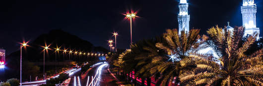 Street lights bordering busy street at night with palm trees