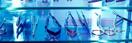 Sanitized equipment under UV light