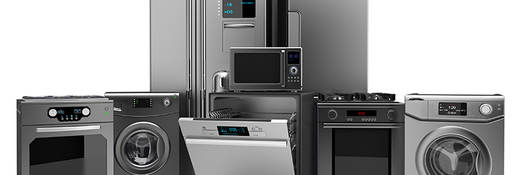 Selection of home appliances in stainless steel