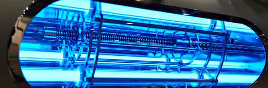 Closeup of a UVC light sterilization lamp