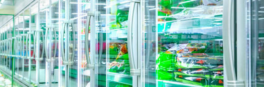 Commercial refrigerator aisle