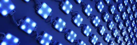 Close-up of a LED wall with bluish light