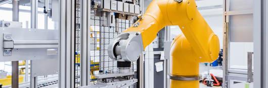 Industrial robot on factory shop floor