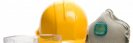 Picture of protective glasses, hardhat, and face mask