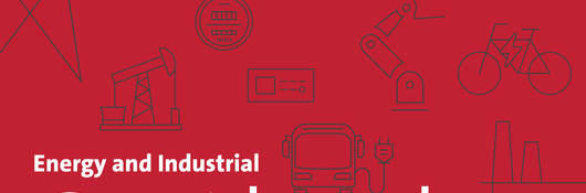 Energy and Industrial Outlook newsletter banner with industry specific icons including solar panel, wind turbine, electric vehicle batteries, oil rig, manufacturing plant