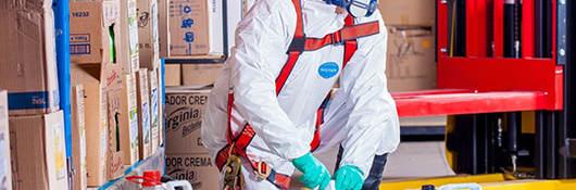 Man in White hazmat suit