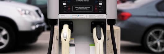 Closeup of EV charging station