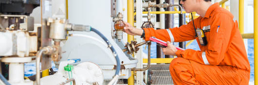 Engineer inspecting hazardous locations equipment