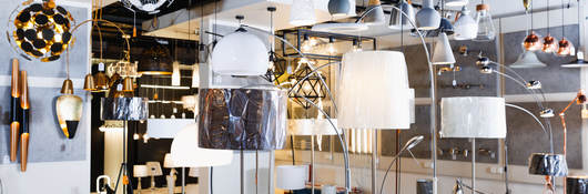 Lamp with lights in the designer furniture store
