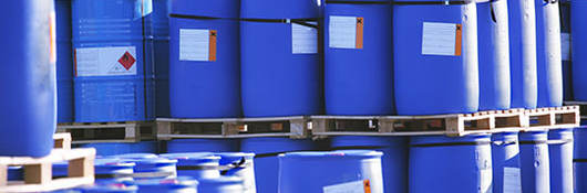 blue containers with labels
