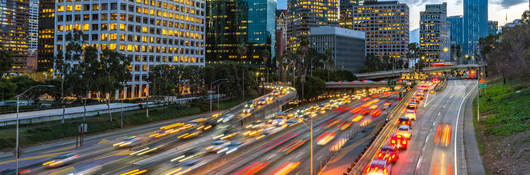blurred image of Los Angeles, California, traffic