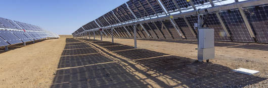 Solar panels as part of a solar power farm