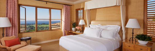 Luxury hotel room with view of Pacific Ocean