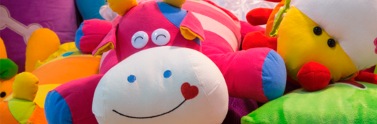 Colored plush toys
