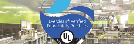 Clean commercial kitchen with the UL Verified Mark for Everclean food safety practices
