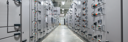 Switch panel of switchgear electrical room at power plant