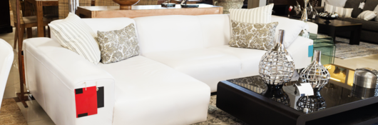 white family room furniture and black coffee table