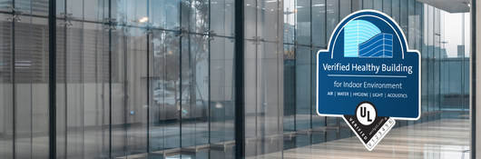 Verified Healthy Building Mark on glass office
