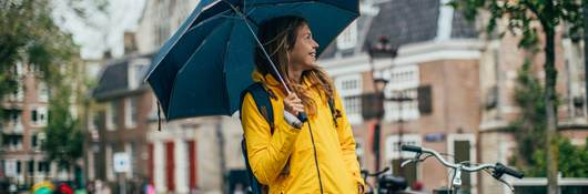 Woman wearing a waterproof jacket