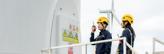 Employees performing a wind turbine inspection