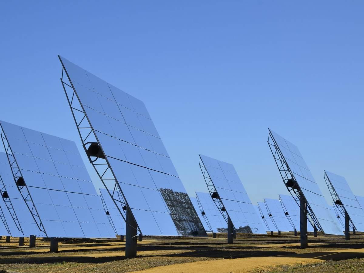 Solar panels in Sanlucar la Mayor near Seville, Andalucia, Spain.
