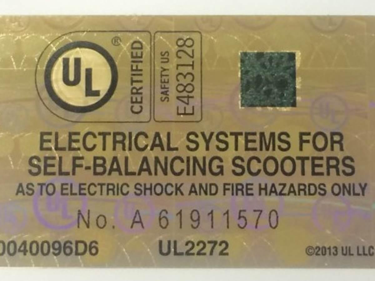UL Hoverboard Label Image